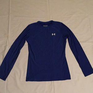 Blue Under Armour Long Sleeve Stretchy Shirt